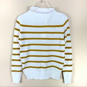 New English Factory Striped Folded Neck Sweater